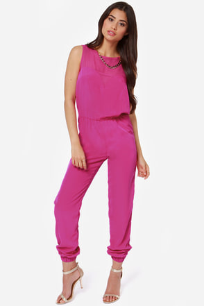 Goodnight Sweetheart Fuchsia Jumpsuit