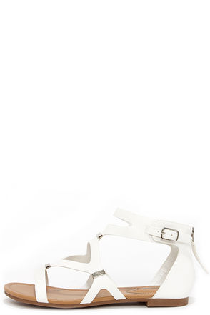 All Roads Lead to Rome White and Silver Gladiator Sandals at Lulus.com!