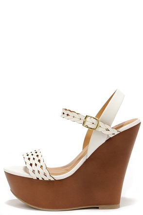 Trellis a Story White Platform Wedge Sandals at Lulus.com!