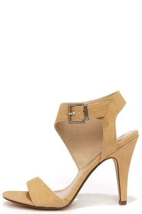 Sweep You Off Your Feet Beige Nubuck Ankle Strap Heels at Lulus.com!