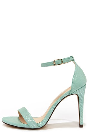 Dress Accordingly Aqua Snakeskin Ankle Strap Heels at Lulus.com!