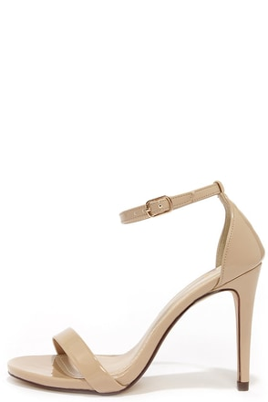 Dress Accordingly Dark Beige Patent Ankle Strap Heels