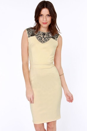Little Mistress Jewel-in Around Beaded Cream Dress