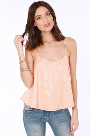 Would You Beam Mine? Peach Sequin Top