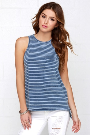 Line of Work Ivory and Blue Striped Tank Top at Lulus.com!