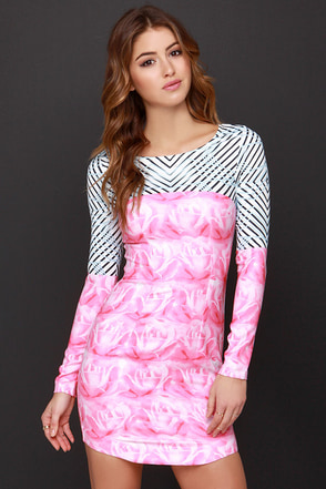 A-Mazed by You Pink Print Dress at Lulus.com!