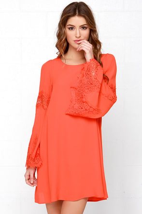 Jolly-Well Coral Red Lace Swing Dress at Lulus.com!