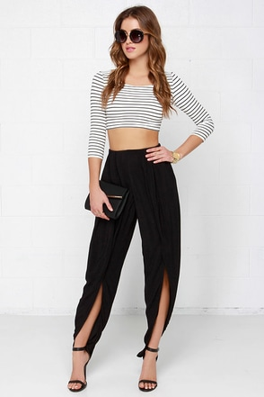 Tulips Are Moving Black Pants at Lulus.com!