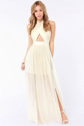 Pleat-er Patter Cream Color Block Maxi Dress