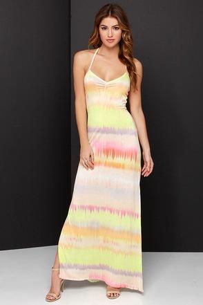 O'Neill Kaya Peach and Chartreuse Tie-Dye Maxi Dress at Lulus.com!