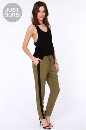 LULUS Exclusive Places to Be Black and Olive Green Pants