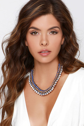 Gem the Tide Blue Rhinestone Statement Necklace at Lulus.com!
