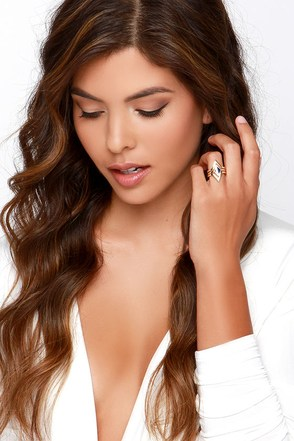 Die-mond and Gone to Heaven Gold Ring Set at Lulus.com!