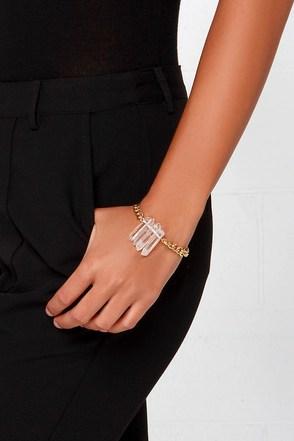 Run its Quartz Gold Crystal Bracelet at Lulus.com!