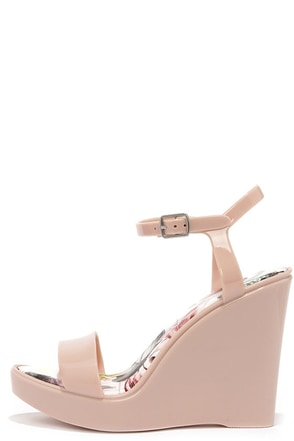 Candy Store Nude Jelly Wedge Sandals at Lulus.com!