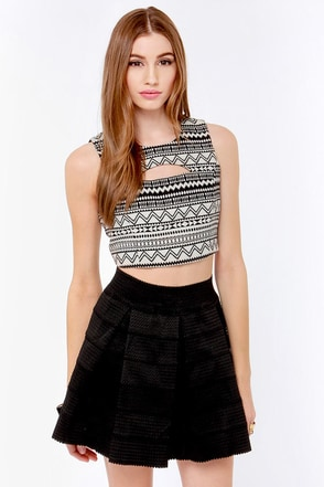 Geometric-ed You Cream and Black Print Crop Top