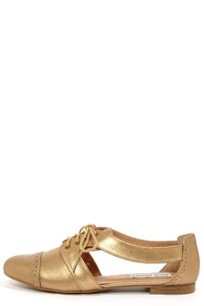Steve Madden Cori Dusty Gold Cutout Oxford Flats