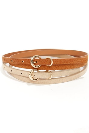 Fit Kit Beige and Tan Leather Belt Set