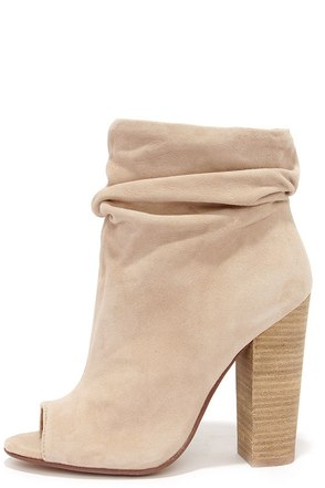 Chinese Laundry Laurel Nude Kid Suede Peep Toe Booties at Lulus.com!