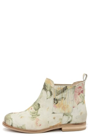 Coolway Felicia Natural Suede Leather Floral Print Ankle Boots at Lulus.com!