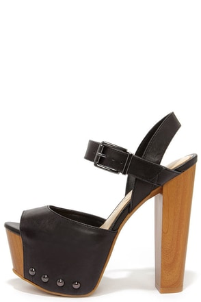 Jessica Simpson Daelyn Black Leather Platform Sandals at Lulus.com!