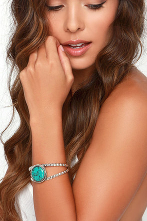 Round These Parts Silver and Turquoise Bracelet at Lulus.com!