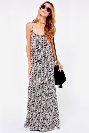 Wandering Minds Cream and Black Print Maxi Dress