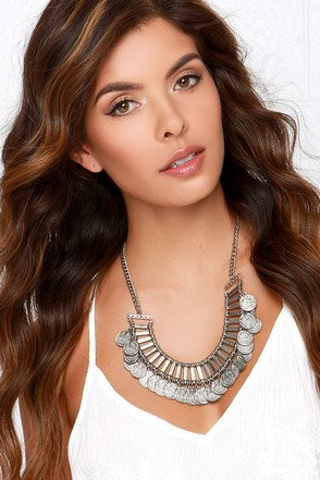 Coin the Phrase Silver Statement Necklace at Lulus.com!