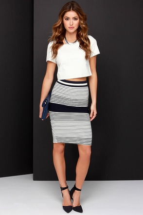 Tell Me Lines Ivory and Navy Blue Striped Pencil Skirt at Lulus.com!