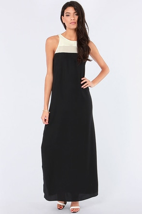 BB Dakota Sola Ivory and Black Maxi Dress