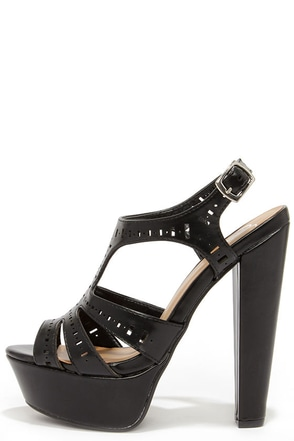 Love at Fierce Sight Black Cutout Platform Sandals at Lulus.com!