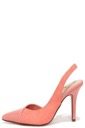 Lounge Slinger Salmon Pink Snakeskin Slingback Heels at Lulus.com!