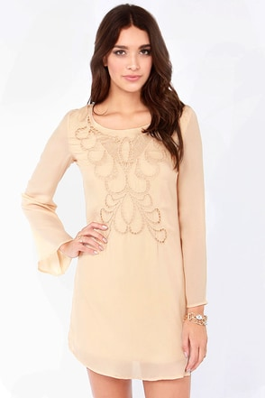 Ain't Life Grandeur Beige Shift Dress