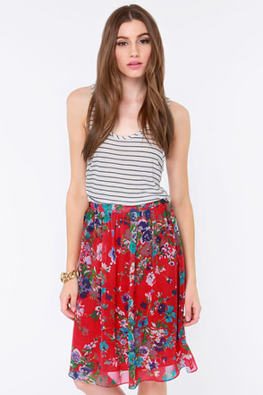 Fleur the One Red Floral Print Midi Skirt