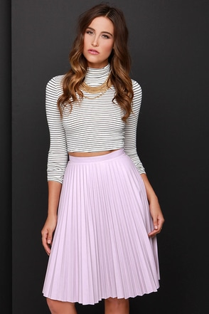 Beauty and the Pleats Lavender Vegan Leather Midi Skirt at Lulus.com!