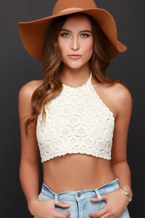 We Can't Stop Black Crochet Halter Crop Top at Lulus.com!