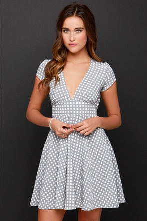Check Yes! Grey Print Dress at Lulus.com!