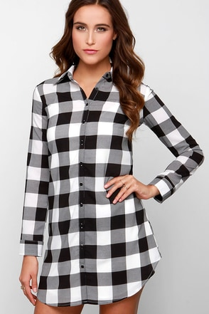 BB Dakota Tanwyn Black and White Plaid Shirt Dress at Lulus.com!