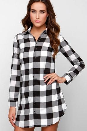 BB Dakota Tanwyn Black and White Plaid Shirt Dress at Lulus.com!