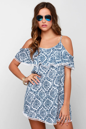 Time On My Seaside Blue Print Dress at Lulus.com!