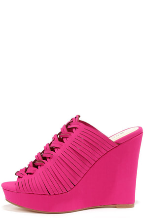Striking and Lucky Magenta Nubuck Platform Wedges at Lulus.com!