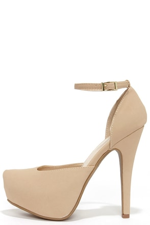 Sweetness and Light Nude Nubuck Platform Heels at Lulus.com!