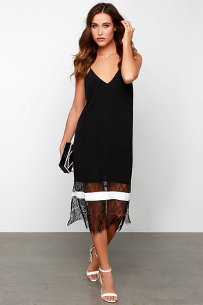 Slip and Glide Ivory and Black Lace Slip Dress at Lulus.com!