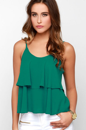 Lend Me Your Tiers Green Tank Top at Lulus.com!