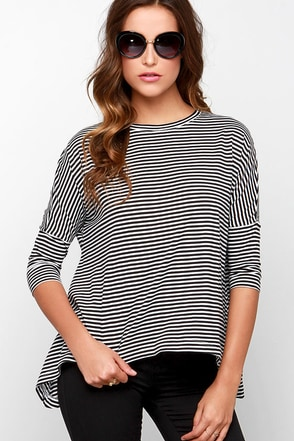 BB Dakota Viveca White and Black Striped Top at Lulus.com!