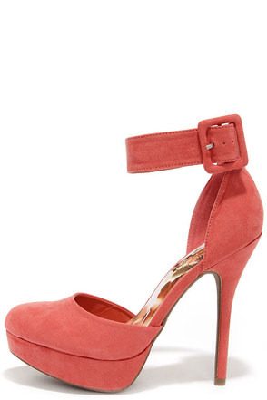 Tall In All Coral Suede Platform Ankle Strap Heels at Lulus.com!