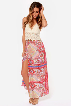 East Meets Southwest Print Maxi Skirt