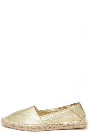 Report Signature Sphinx Gold Espadrille Flats at Lulus.com!