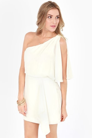 Calling All Angels One Shoulder Ivory Dress at Lulus.com!