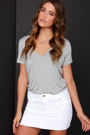 Flirty Dancing Distressed Ivory Denim Skirt at Lulus.com!